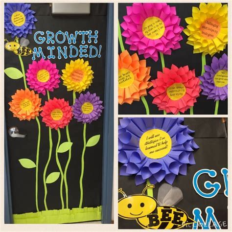 bulletin boards growth mindset  flower  pinterest