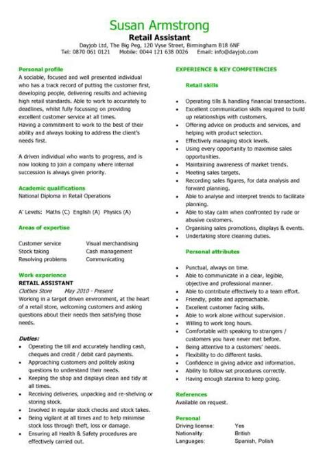 Retail Assistant Resume Template by Retail Cv Template Sales Environment Sales Assistant Cv