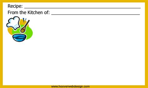 printable chef themed recipe cards templates