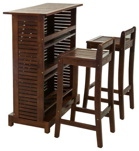 catrina 3piece mahogany stained wood bar stool bar set