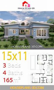 House, Plans, 15x11, With, 3, Bedrooms, Slope, Roof
