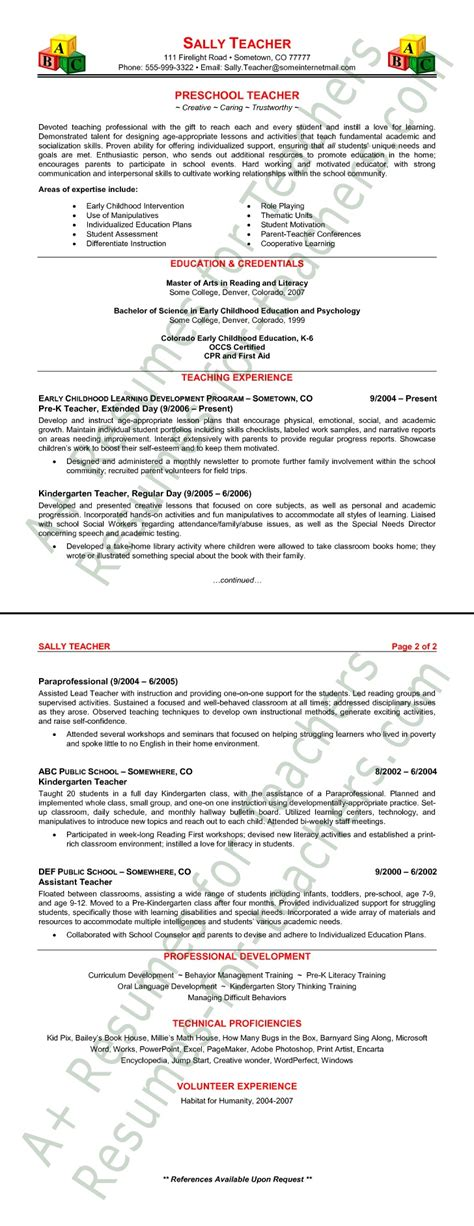 preschool resume samples preschool teacher resume sample