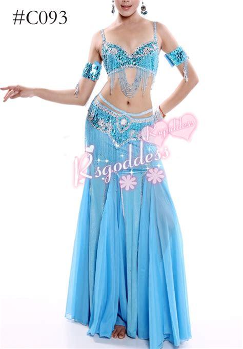 light blue dance costumes c093 light blue quality belly dance costume 2 pics bra belt