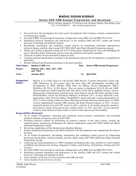 Sap Crm Sales Consultant Resume by Sap Crm Sales Resume