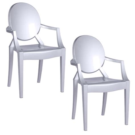 philippe starck style louis ghost arm chair set of 4 silver
