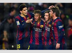Barcelona 50 Elche Lionel Messi, Luis Suarez and Neymar
