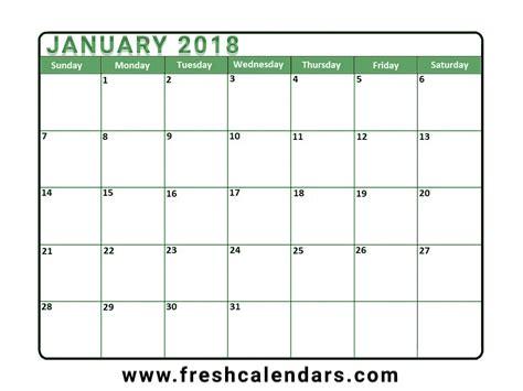 Free Calendar Template 2018 Blank January 2018 Calendar Printable Templates