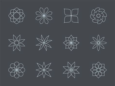 Abstract Flower Shapes by Abstract Flower Line Icons Vector