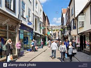 Stonegate in the city of York is a busy shopping street ...
