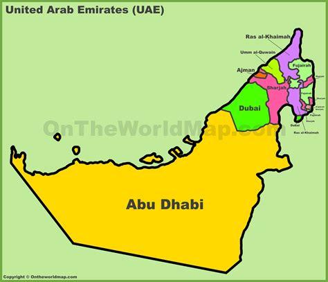 uae emirates map administrative divisions map  uae