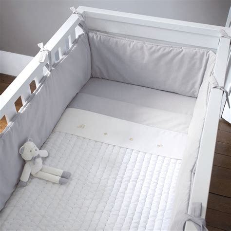 tour de lit entier 70x140 cm mixte gris blanc jacadi baby