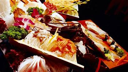 Japanese Sushi Cuisine Seafood Soup Rice Flowers