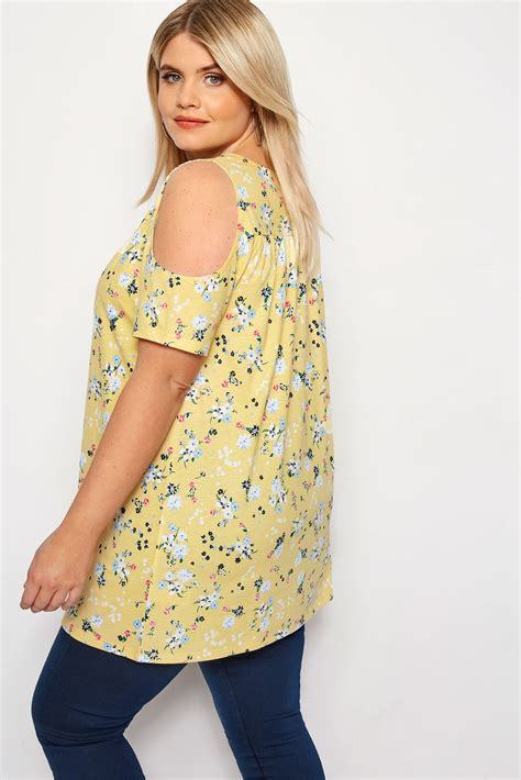 Cold Shoulder Shirt Mit Blümchenmuster  Gelb, Große