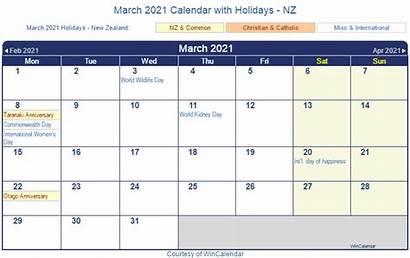 Calendar 2021 March Nz Holidays Printable Zealand