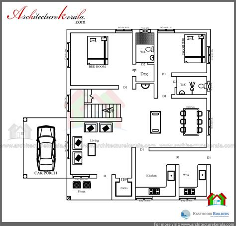 Low Cost 3 Bedroom Kerala House Plan with Elevation - Free