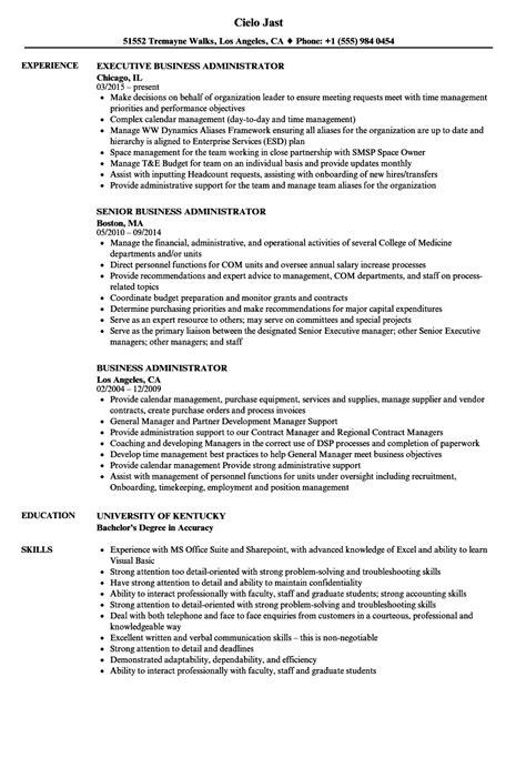 business administrator resume sles velvet