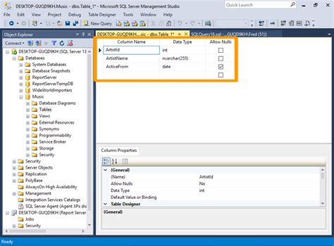Sql Server 2016 Create A Table