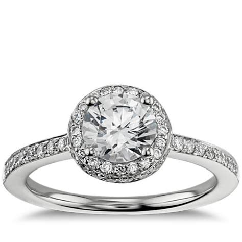 halo engagement ring in 18k white gold blue nile