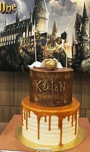 Harry Potter butterbeer buttercream drip cake golden ...