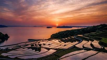 Landscape Japanese 4k Japan Sunset Fields Rise