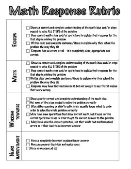 math written response rubric  kathy farvour teachers