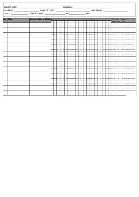show jumping score sheet printable