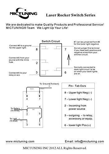 mictuning laser led light bar rocker switch on led light 20a 12v 5pin blue