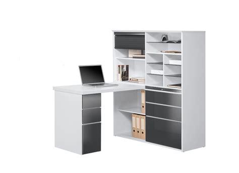 bureau a bureau contemporain avec rangement blanc gris brillant