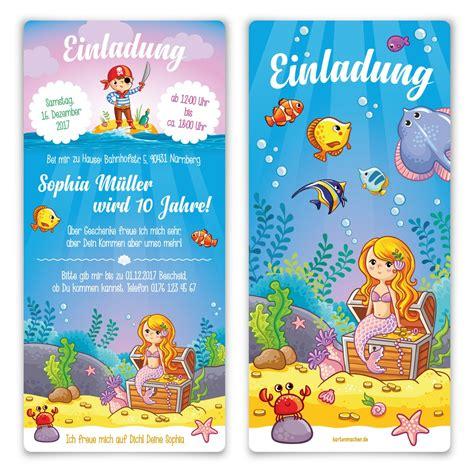 kindergeburtstag einladungskarten meerjungfrau