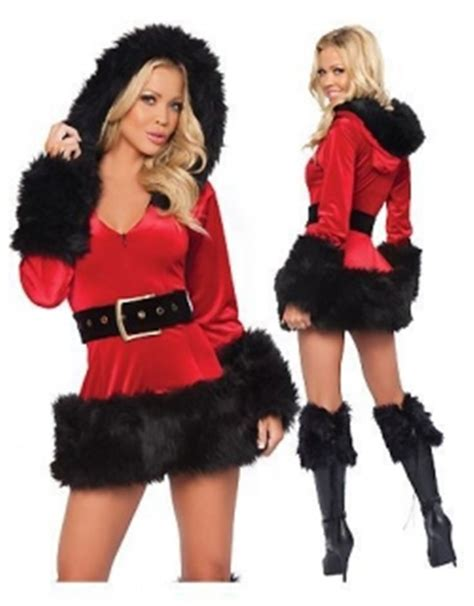 Fur Trim Velvet Santa Costume Full Sleeve Sexy Hoodie Fancy Dress Christmas Outfit W208522A