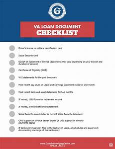 Va loan document checklist guardian mortgage company for Financial documents needed for mortgage