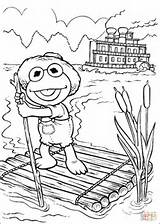 Coloring Elmo Sailing Raft Silhouettes Tom Sawyer Muppets Printable Paper sketch template
