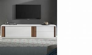 Meuble Tv Blanc Laqué Et Bois : meuble tele design blanc laque mat et couleur bois fonce helsinki ~ Teatrodelosmanantiales.com Idées de Décoration