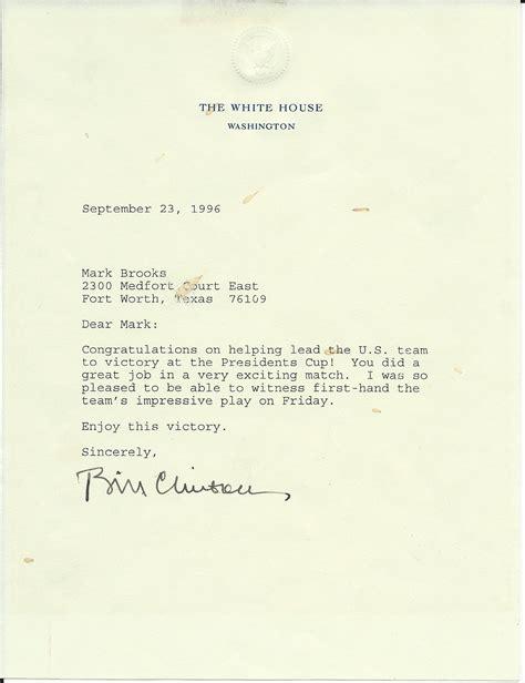lot detail president bill clinton signed letter  white