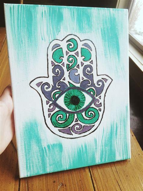 diy hamsa canvas watercolor paints  materials