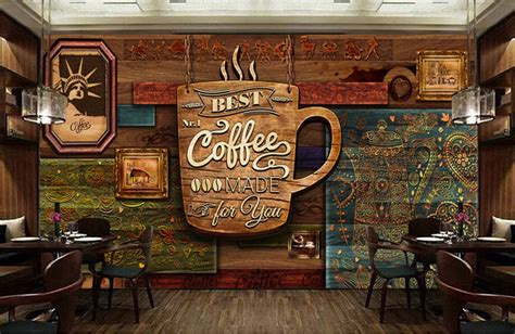 custom food store wallpaperwood pattern coffeed retro