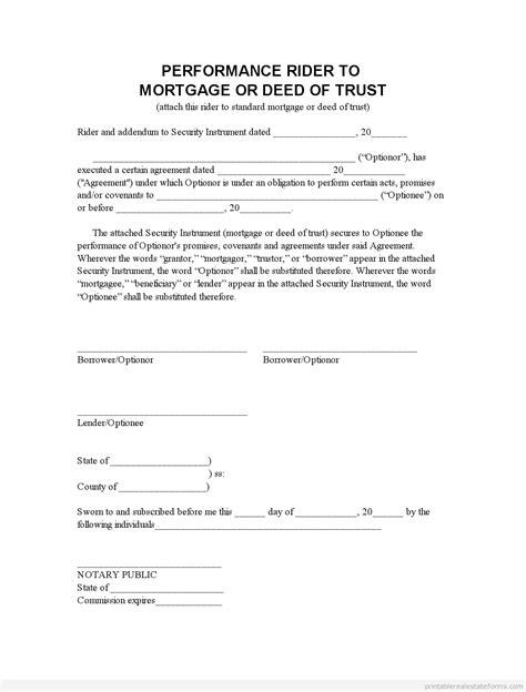 printable perf mortgage addendum form template