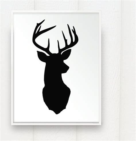 Deer Head Print Silhouette Color White Background