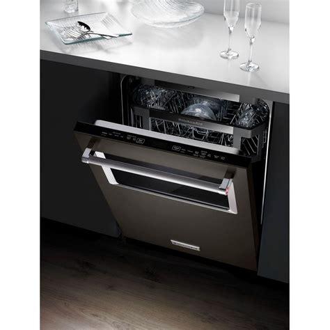 kdtmebs kitchenaid black integrated console dishwasher  window  lighted interior black