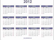 Calendarios 2012 sencillos para imprimir Mil Recursos