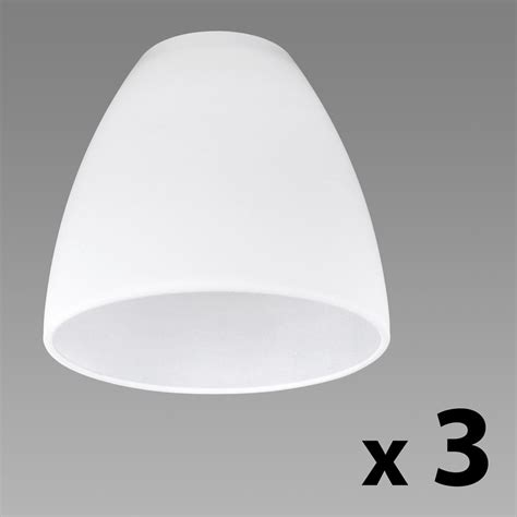 set of 3 white glass replacement ceiling wall light