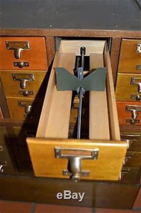 vintage  drawer wood index library card catalog cabinet