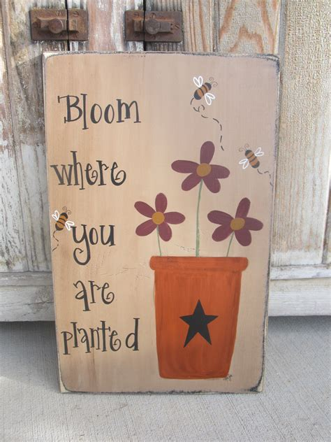 primitive flower pot flowers  bees hand painted wooden sign