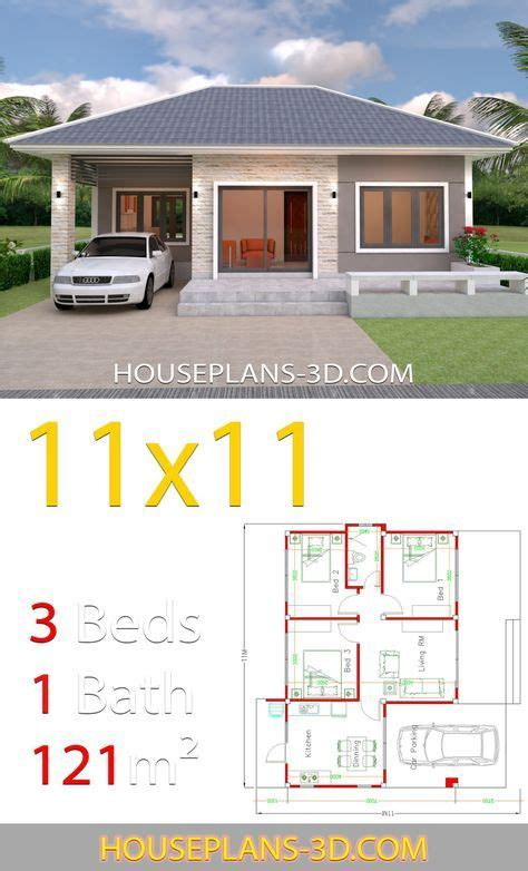 House Design 11x11 with 3 Bedrooms Hip roof House Plans