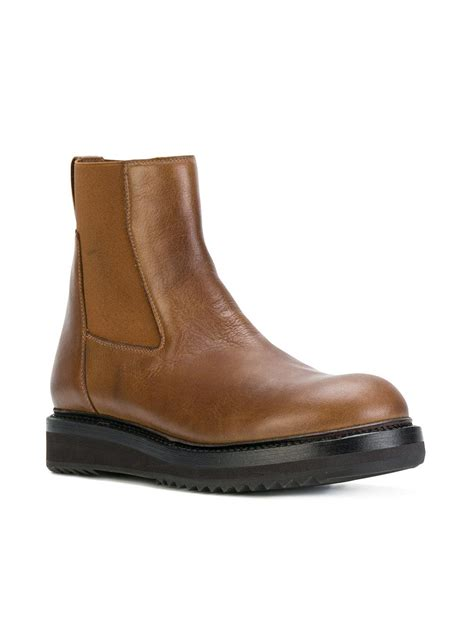 Rick Owens Leather Chunky Sole Chelsea Boots in Brown for ...