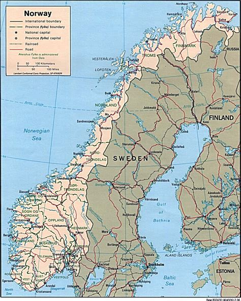 large detailed political  administrative map  norway