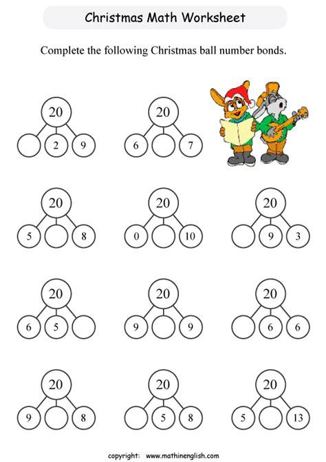 grade 1 math christmas worksheets printable christmas number bond worksheet for grade 1 students