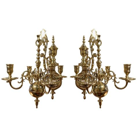 19th century pair of four brass candle chandelier wall