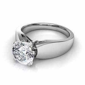 Wide band cathedral solitaire engagement ring for Wedding rings to go with solitaire engagement ring