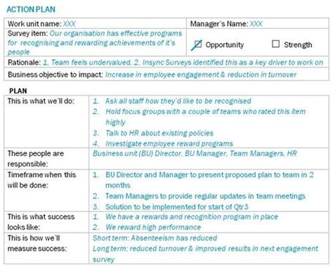 commitment action document template action plan exle post employee engagement survey work